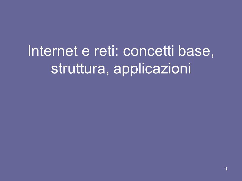 21 La tipologia di connessioni con Internet (fisiche) Linee dedicate : lutente (computer) è collegato alla rete con connessione permanente ( es.