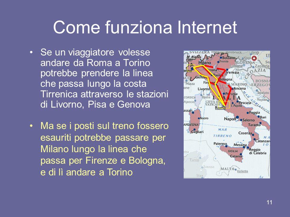 10 Come funziona Internet Per afferrare questo aspetto, torniamo alla nostra metafora ferroviaria Le stazioni corrispondono ai nodi della rete Ogni st