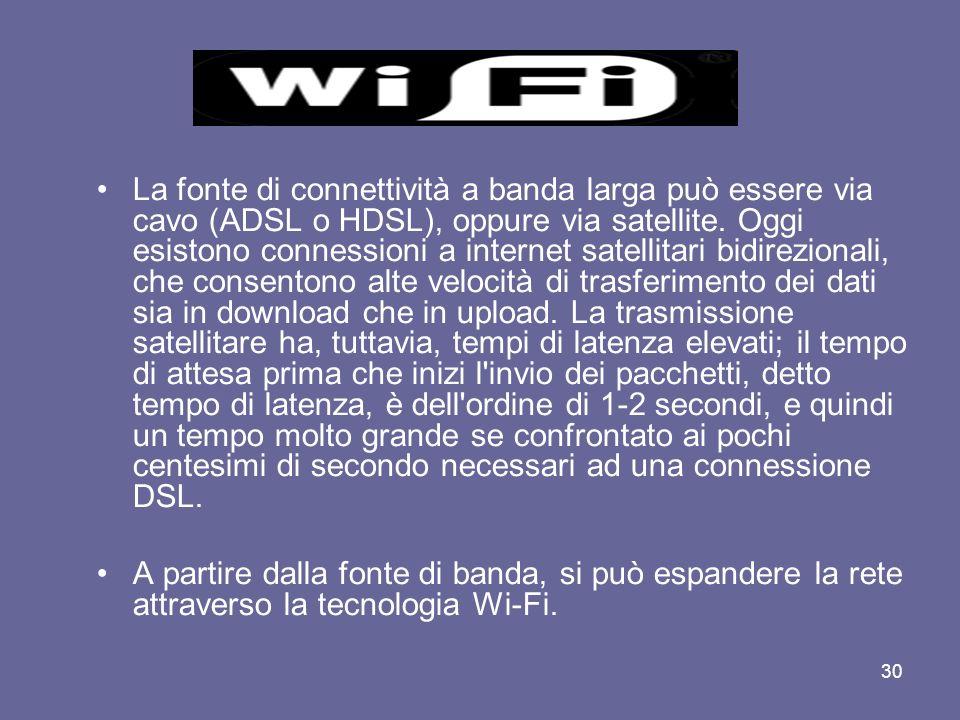 29 Wi-Fi, abbreviazione di Wireless Fidelity, è un termine che indica dispositivi che possono collegarsi a reti locali senza fili (WLAN - wireless loc