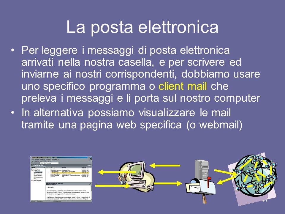 40 La posta elettronica Nome utente Separatore (simbolo a commerciale che si legge at) Nome host che ospita la casella postale dellutente