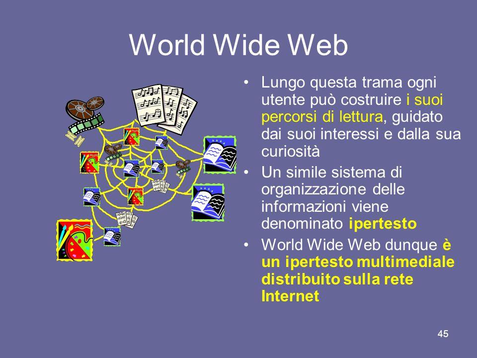 44 Nascita del World Wide Web (1992) Nel 1992 presso il CERN di Ginevra il ricercatore Tim Berners-Lee definì il protocollo HTTP (HyperText Transfer P