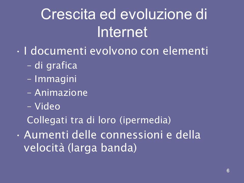 6 Crescita ed evoluzione di Internet I documenti evolvono con elementi –di grafica –Immagini –Animazione –Video Collegati tra di loro (ipermedia) Aumenti delle connessioni e della velocità (larga banda)