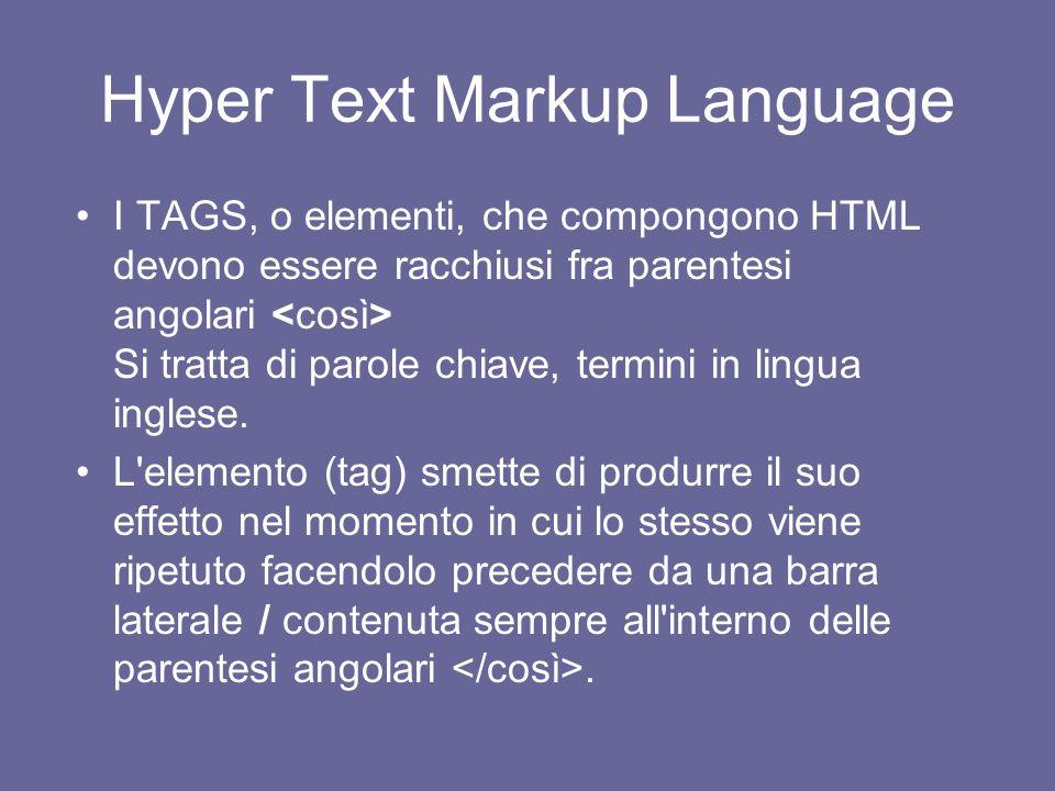 Hyper Text Markup Language Serve per costruire una pagina web che ha estensione.htm o.html Può essere scritto con il semplice blocco notes o con diver