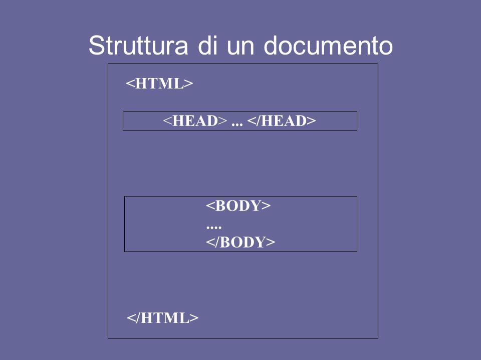 Hyper Text Markup Language I TAGS, o elementi, che compongono HTML devono essere racchiusi fra parentesi angolari Si tratta di parole chiave, termini