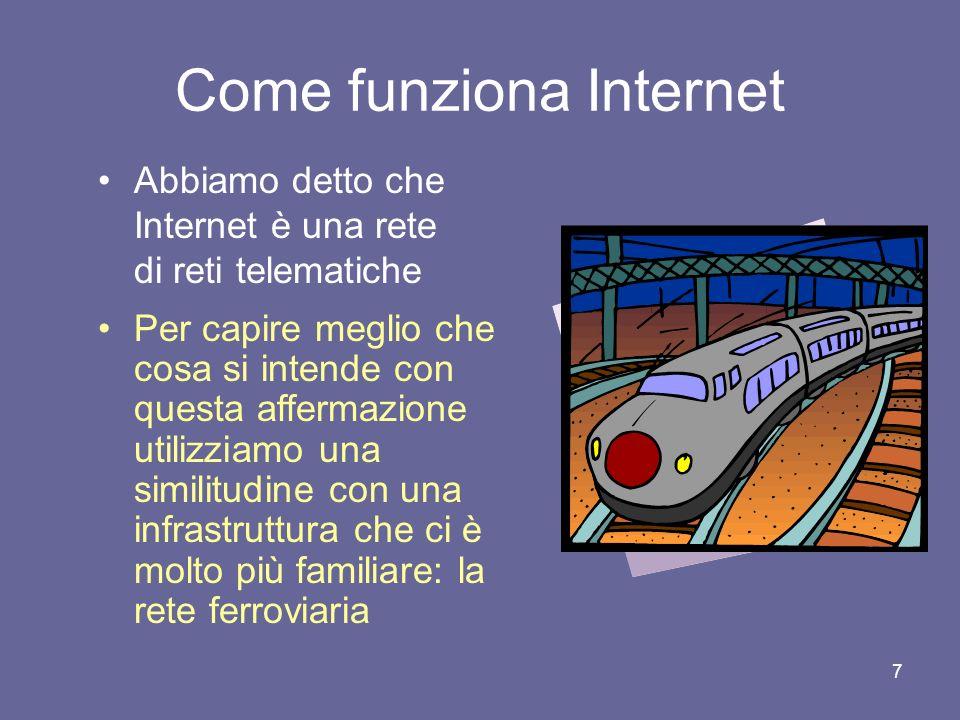 17 La commutazione di pacchetto I messaggi su Internet non viaggiano tutti interi Essi vengono divisi in pacchetti che vengono spediti autonomamente sulla rete