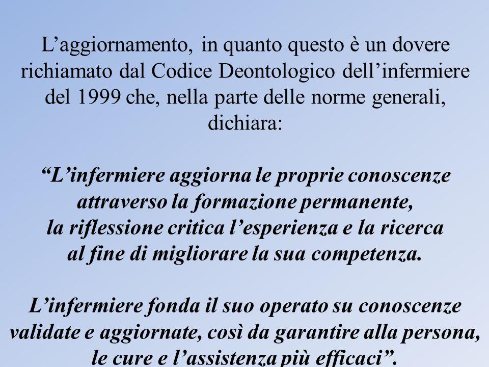 Laggiornamento, in quanto questo è un dovere richiamato dal Codice Deontologico dellinfermiere del 1999 che, nella parte delle norme generali, dichiar