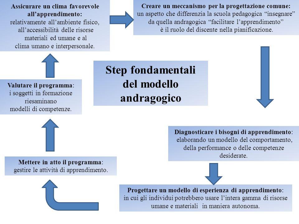 Step fondamentali del modello andragogico Assicurare un clima favorevole allapprendimento: relativamente allambiente fisico, allaccessibilità delle ri