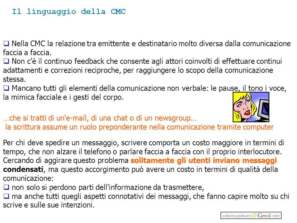 Nella CMC la relazione tra emittente e destinatario molto diversa dalla comunicazione faccia a faccia.
