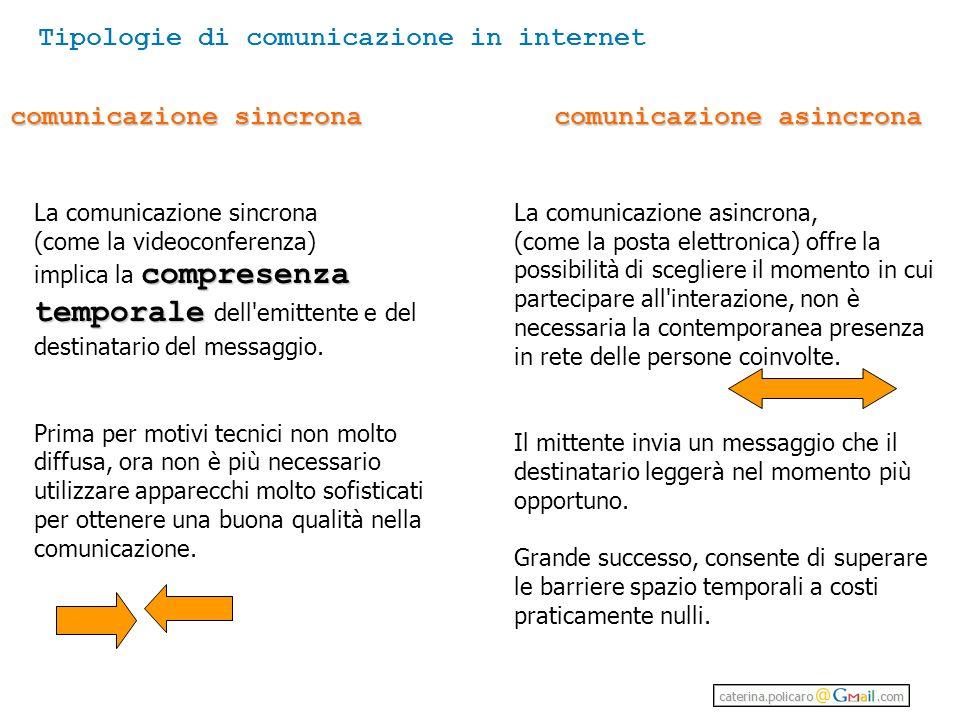 comunicazione sincrona comunicazione asincrona La comunicazione sincrona (come la videoconferenza) compresenza temporale implica la compresenza temporale dell emittente e del destinatario del messaggio.