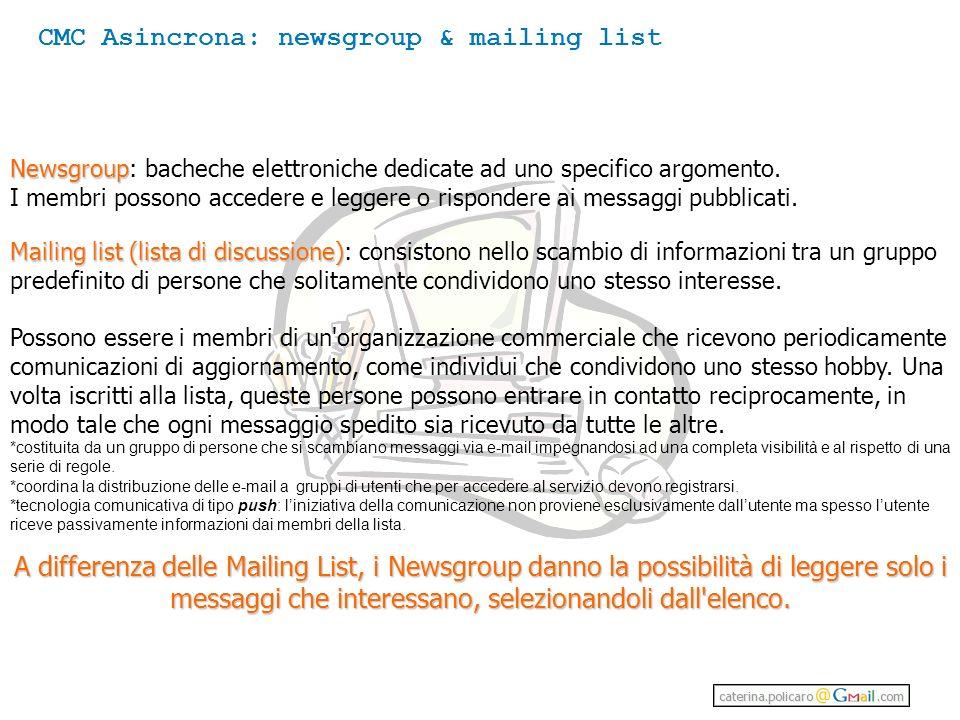 Mailing list (lista di discussione) Mailing list (lista di discussione): consistono nello scambio di informazioni tra un gruppo predefinito di persone che solitamente condividono uno stesso interesse.
