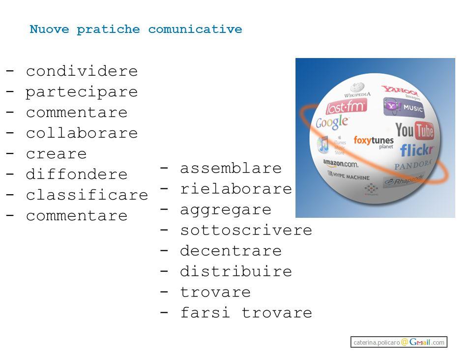 - condividere - partecipare - commentare - collaborare - creare - diffondere - classificare - commentare - assemblare - rielaborare - aggregare - sottoscrivere - decentrare - distribuire - trovare - farsi trovare Nuove pratiche comunicative