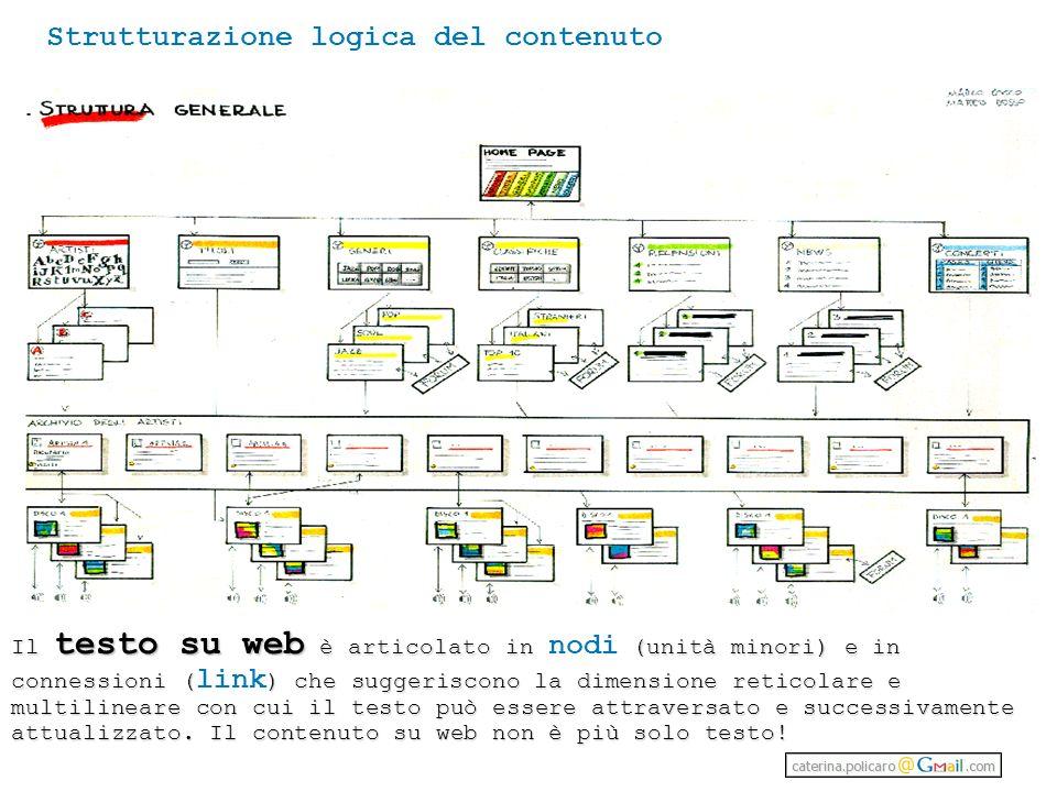 Strutturazione logica del contenuto Il testo su web è articolato in (unità minori) e in connessioni () che suggeriscono la dimensione reticolare e multilineare con cui il testo può essere attraversato e successivamente attualizzato.