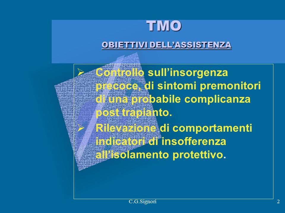 C.G.Signori2 TMO OBIETTIVI DELLASSISTENZA Controllo sullinsorgenza precoce, di sintomi premonitori di una probabile complicanza post trapianto.