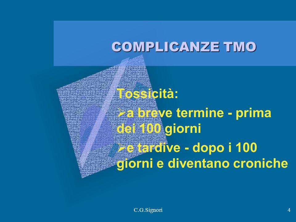 C.G.Signori4 COMPLICANZE TMO Tossicità: a breve termine - prima dei 100 giorni e tardive - dopo i 100 giorni e diventano croniche