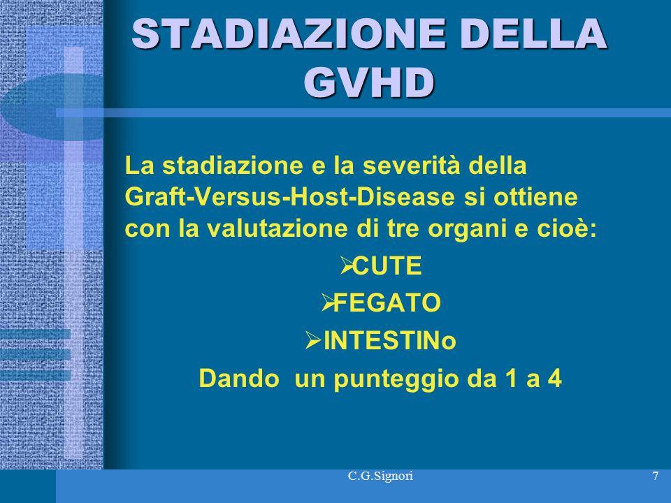 C.G.Signori7 STADIAZIONE DELLA GVHD La stadiazione e la severità della Graft-Versus-Host-Disease si ottiene con la valutazione di tre organi e cioè: CUTE FEGATO INTESTINo Dando un punteggio da 1 a 4
