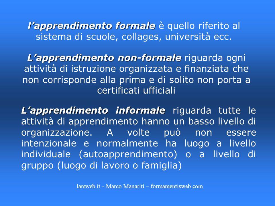 lapprendimento formale lapprendimento formale è quello riferito al sistema di scuole, collages, università ecc. Lapprendimento non-formale Lapprendime