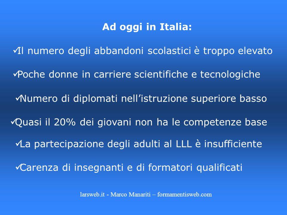 Ad oggi in Italia: Il numero degli abbandoni scolastici è troppo elevato Poche donne in carriere scientifiche e tecnologiche Numero di diplomati nelli