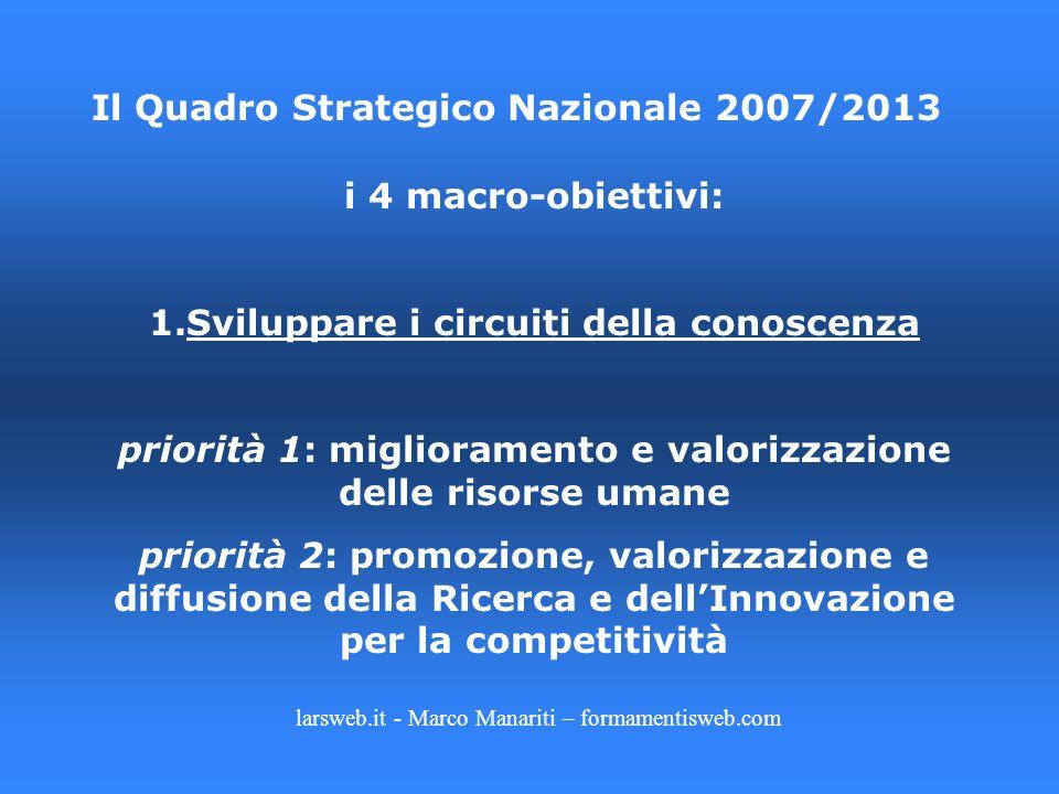larsweb.it - Marco Manariti – formamentisweb.com Il Quadro Strategico Nazionale 2007/2013 i 4 macro-obiettivi: 1.Sviluppare i circuiti della conoscenz