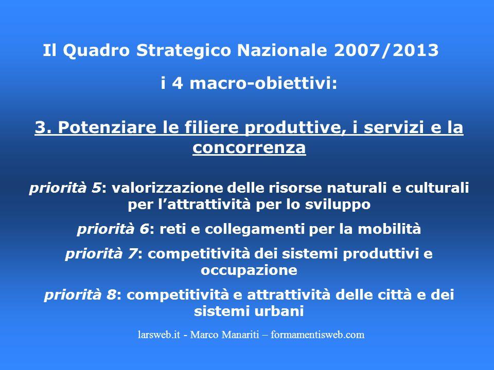 larsweb.it - Marco Manariti – formamentisweb.com Il Quadro Strategico Nazionale 2007/2013 i 4 macro-obiettivi: 3. Potenziare le filiere produttive, i