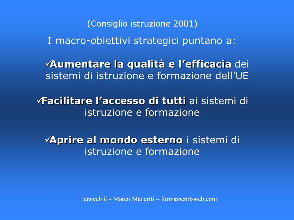 (Consiglio istruzione 2001) I macro-obiettivi strategici puntano a: Aumentare la qualità e lefficacia Aumentare la qualità e lefficacia dei sistemi di