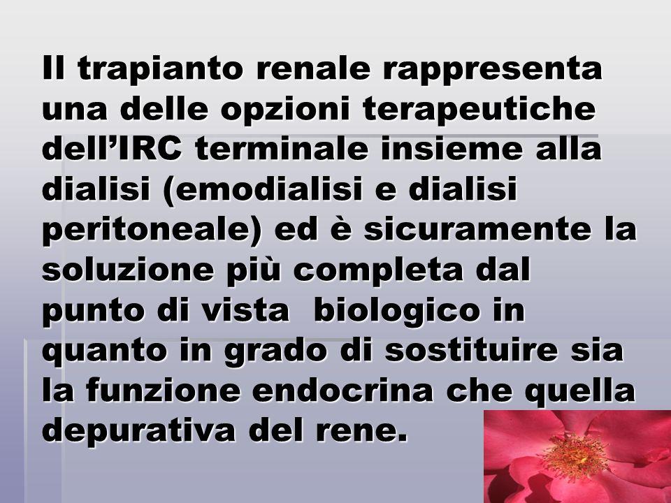 Il trapianto renale rappresenta una delle opzioni terapeutiche dellIRC terminale insieme alla dialisi (emodialisi e dialisi peritoneale) ed è sicurame