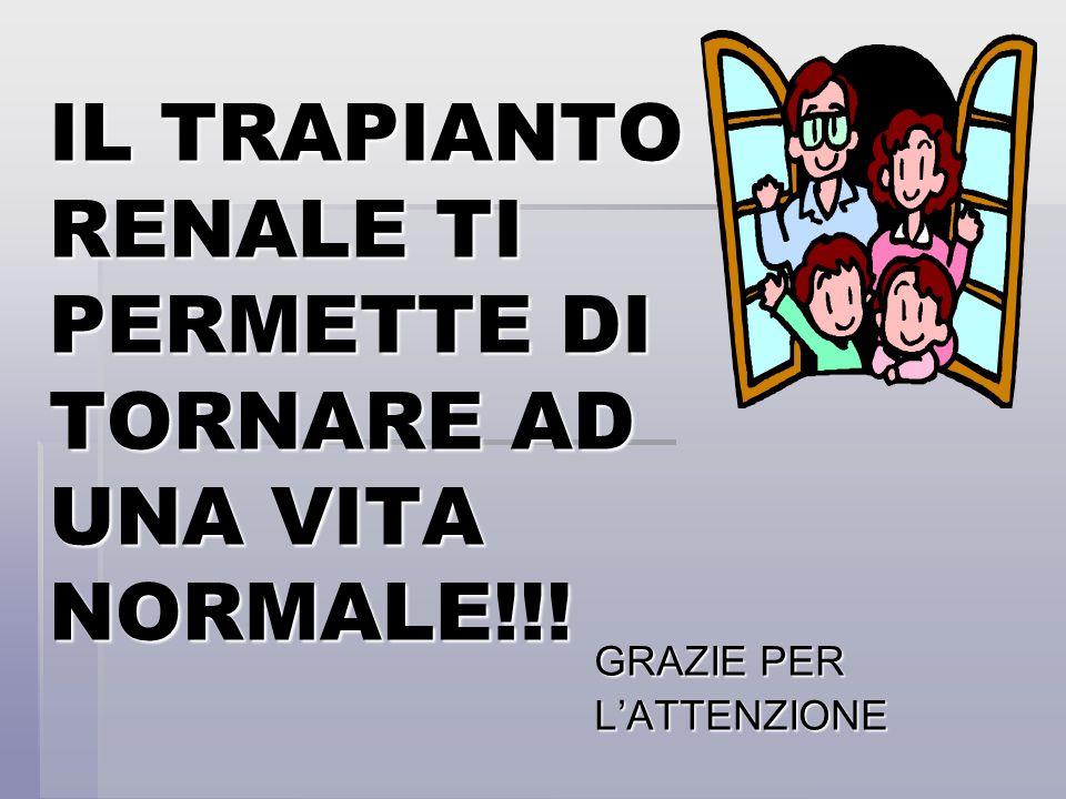 IL TRAPIANTO RENALE TI PERMETTE DI TORNARE AD UNA VITA NORMALE!!! GRAZIE PER LATTENZIONE