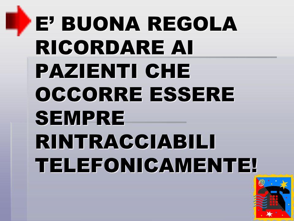 E BUONA REGOLA RICORDARE AI PAZIENTI CHE OCCORRE ESSERE SEMPRE RINTRACCIABILI TELEFONICAMENTE!