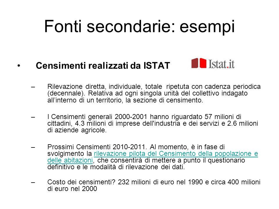Fonti secondarie: esempi Censimenti realizzati da ISTAT –Rilevazione diretta, individuale, totale ripetuta con cadenza periodica (decennale). Relativa