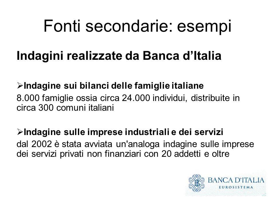 Fonti secondarie: esempi Indagini realizzate da Banca dItalia Indagine sui bilanci delle famiglie italiane 8.000 famiglie ossia circa 24.000 individui