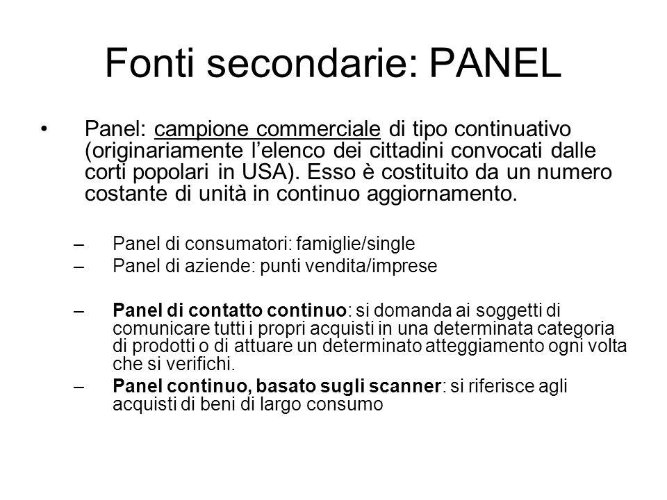 Fonti secondarie: PANEL Panel: campione commerciale di tipo continuativo (originariamente lelenco dei cittadini convocati dalle corti popolari in USA)