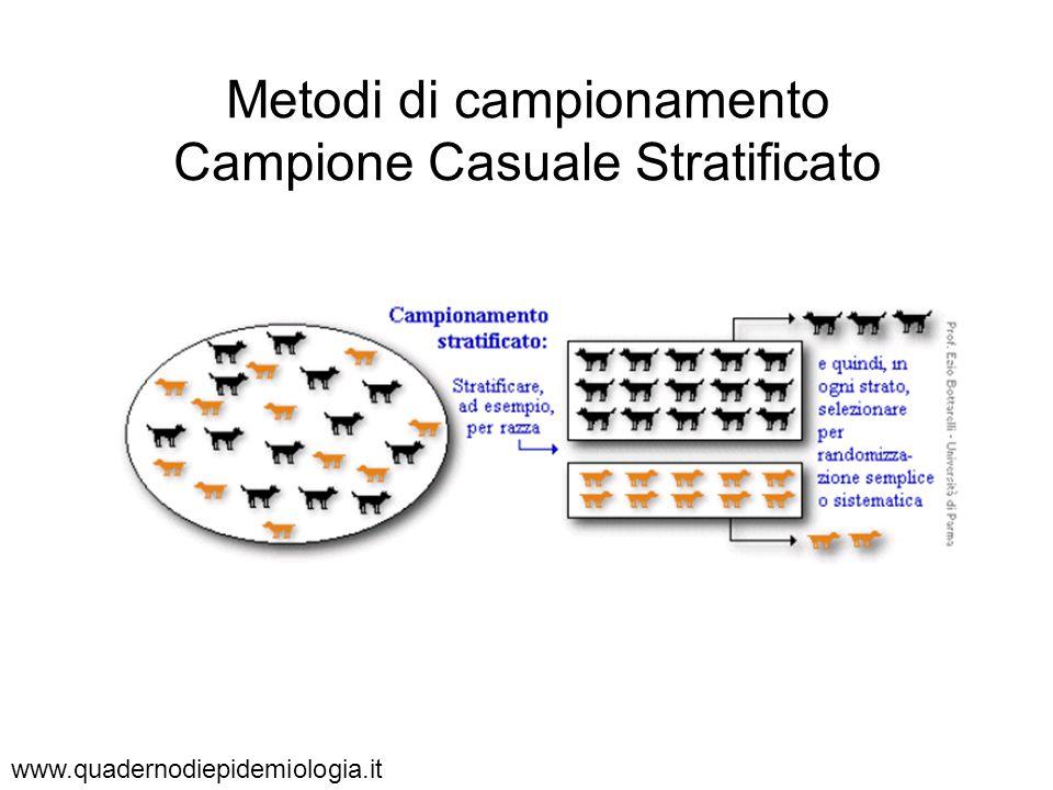 Metodi di campionamento Campione Casuale Stratificato www.quadernodiepidemiologia.it