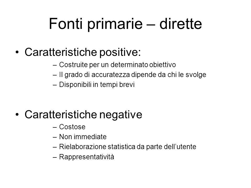 Fonti primarie – dirette Caratteristiche positive: –Costruite per un determinato obiettivo –Il grado di accuratezza dipende da chi le svolge –Disponib