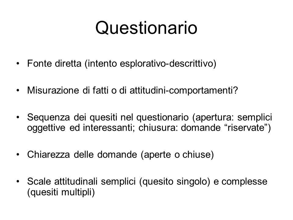 Questionario Fonte diretta (intento esplorativo-descrittivo) Misurazione di fatti o di attitudini-comportamenti? Sequenza dei quesiti nel questionario