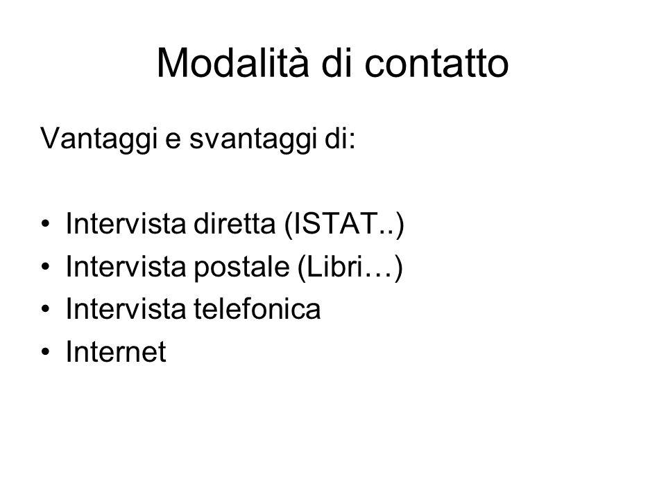 Modalità di contatto Vantaggi e svantaggi di: Intervista diretta (ISTAT..) Intervista postale (Libri…) Intervista telefonica Internet