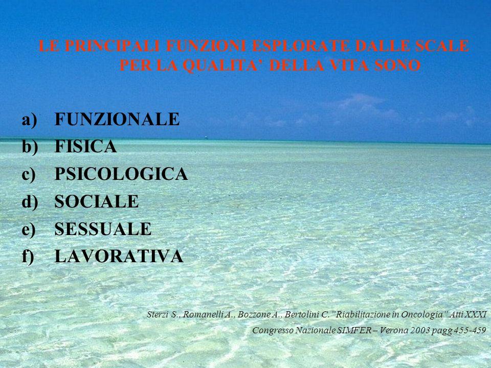 -PREOCCUPAZIONE FISICHE (sintomi descritti dal paziente) -ABILITA FUNZIONALI -BENESSERE FAMIGLIARE -BENESSERE FUNZIONALE -BENESSERE SPIRITUALE -SODDIS