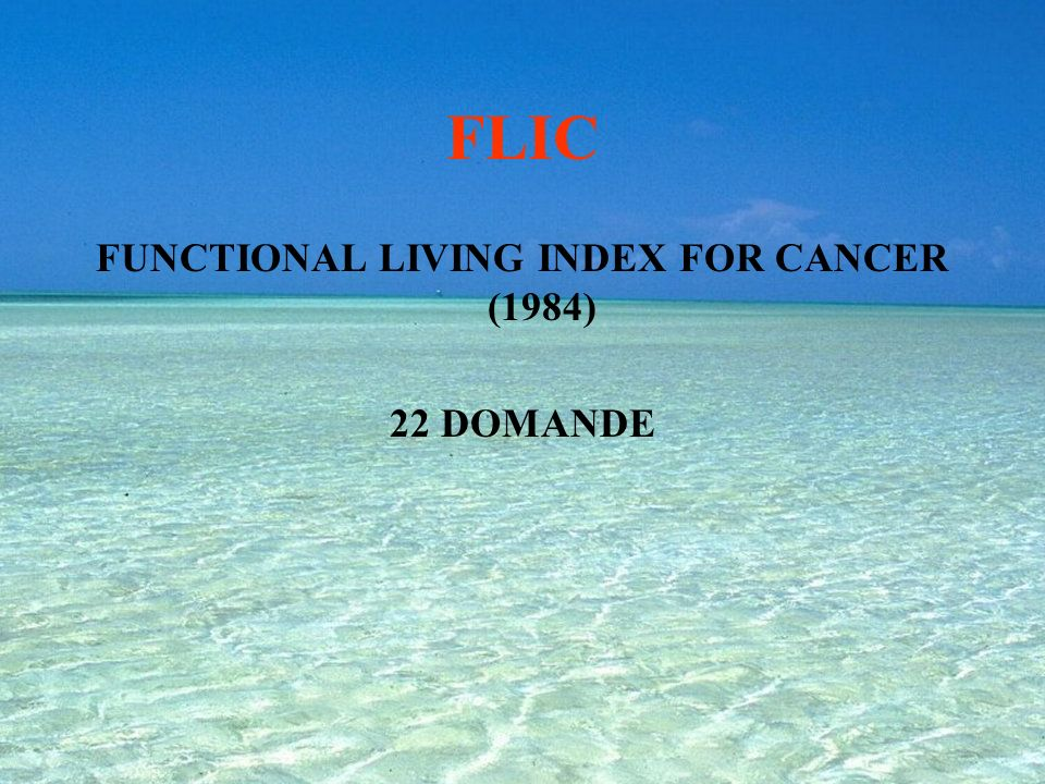QL Index QUALITY OF LIFE INDEX (1981) VELOCE, PUO ESSERE USATO DA PIU CATEGORIE OD AUTOCOMPILATO