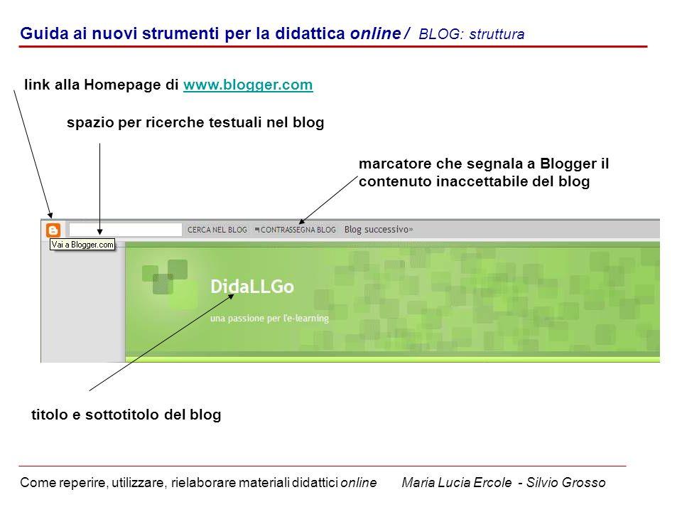Guida ai nuovi strumenti per la didattica online / BLOG: struttura Come reperire, utilizzare, rielaborare materiali didattici online Maria Lucia Ercol