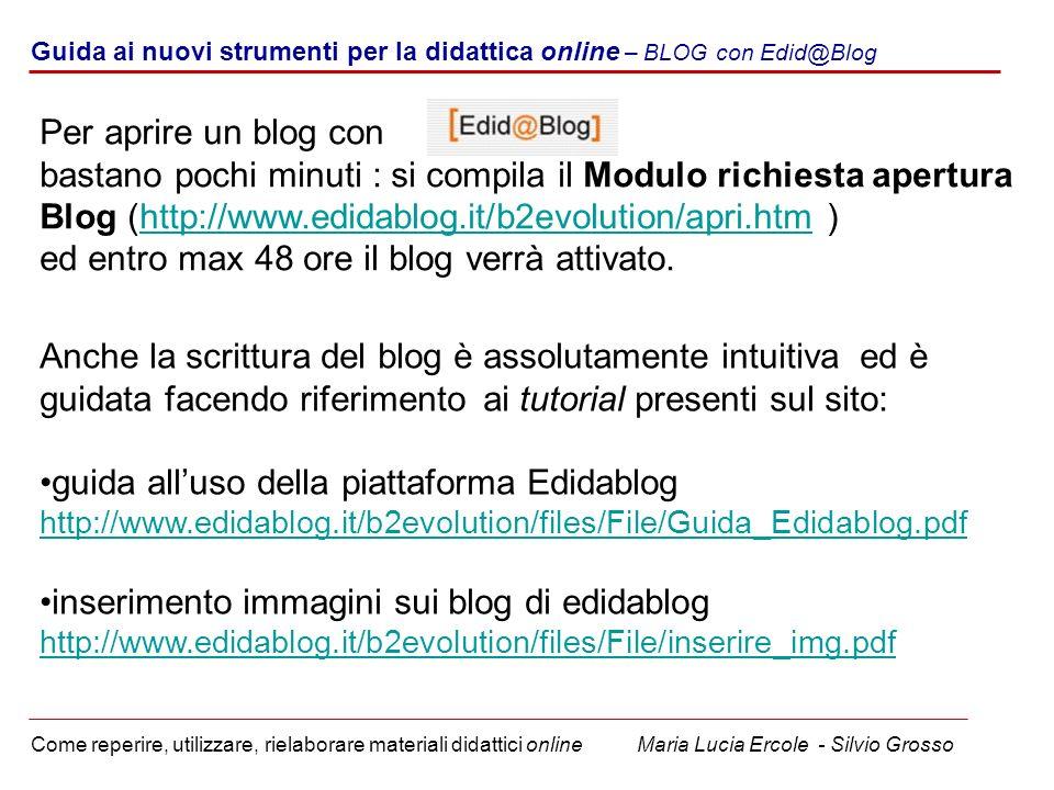 Guida ai nuovi strumenti per la didattica online – BLOG con Edid@Blog Come reperire, utilizzare, rielaborare materiali didattici online Maria Lucia Er
