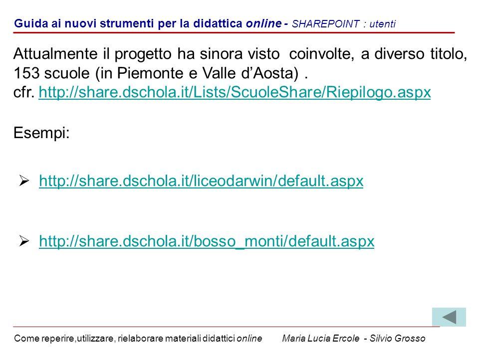 Guida ai nuovi strumenti per la didattica online - SHAREPOINT : utenti Come reperire,utilizzare, rielaborare materiali didattici online Maria Lucia Er