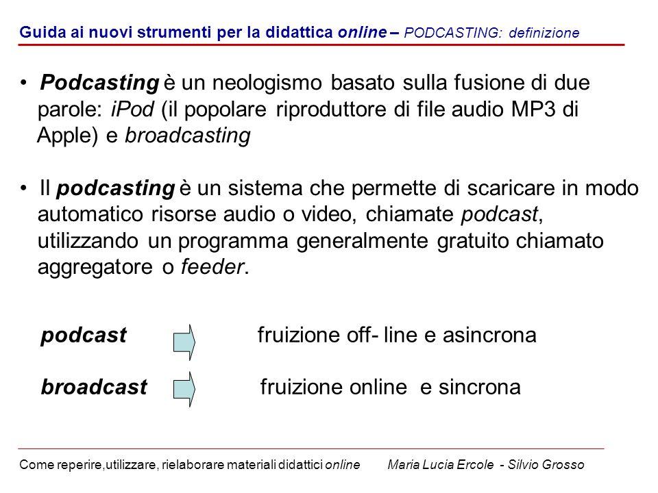 Guida ai nuovi strumenti per la didattica online – PODCASTING: definizione Come reperire,utilizzare, rielaborare materiali didattici online Maria Luci