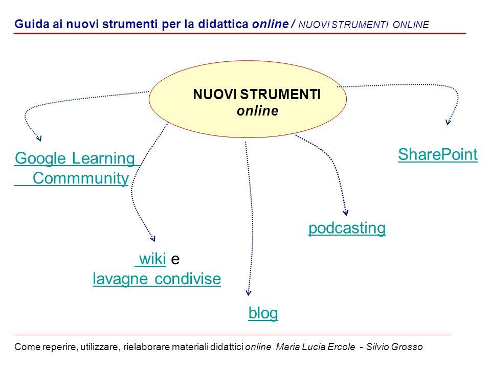 Guida ai nuovi strumenti per la didattica online / NUOVI STRUMENTI ONLINE Come reperire, utilizzare, rielaborare materiali didattici online Maria Luci