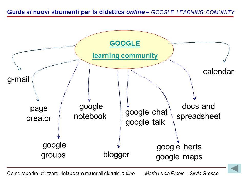 Guida ai nuovi strumenti per la didattica online – GOOGLE LEARNING COMUNITY Come reperire,utilizzare, rielaborare materiali didattici online Maria Luc