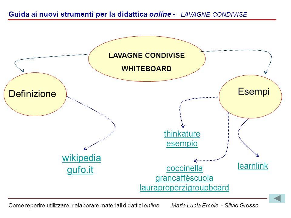 Guida ai nuovi strumenti per la didattica online - LAVAGNE CONDIVISE Come reperire,utilizzare, rielaborare materiali didattici online Maria Lucia Erco