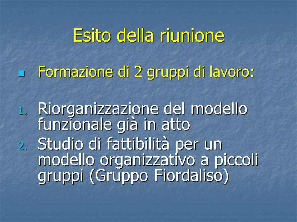 Esito della riunione Formazione di 2 gruppi di lavoro: Formazione di 2 gruppi di lavoro: 1. Riorganizzazione del modello funzionale già in atto 2. Stu