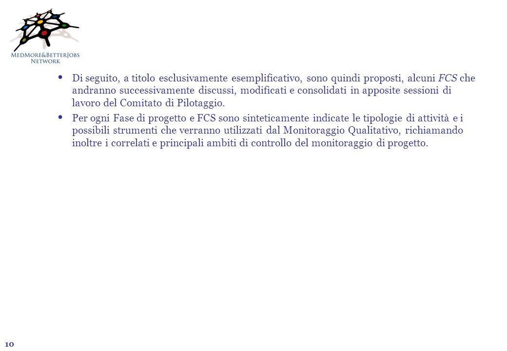 10 Di seguito, a titolo esclusivamente esemplificativo, sono quindi proposti, alcuni FCS che andranno successivamente discussi, modificati e consolida