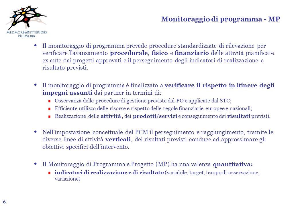 6 Monitoraggio di programma - MP Il monitoraggio di programma prevede procedure standardizzate di rilevazione per verificare lavanzamento procedurale,