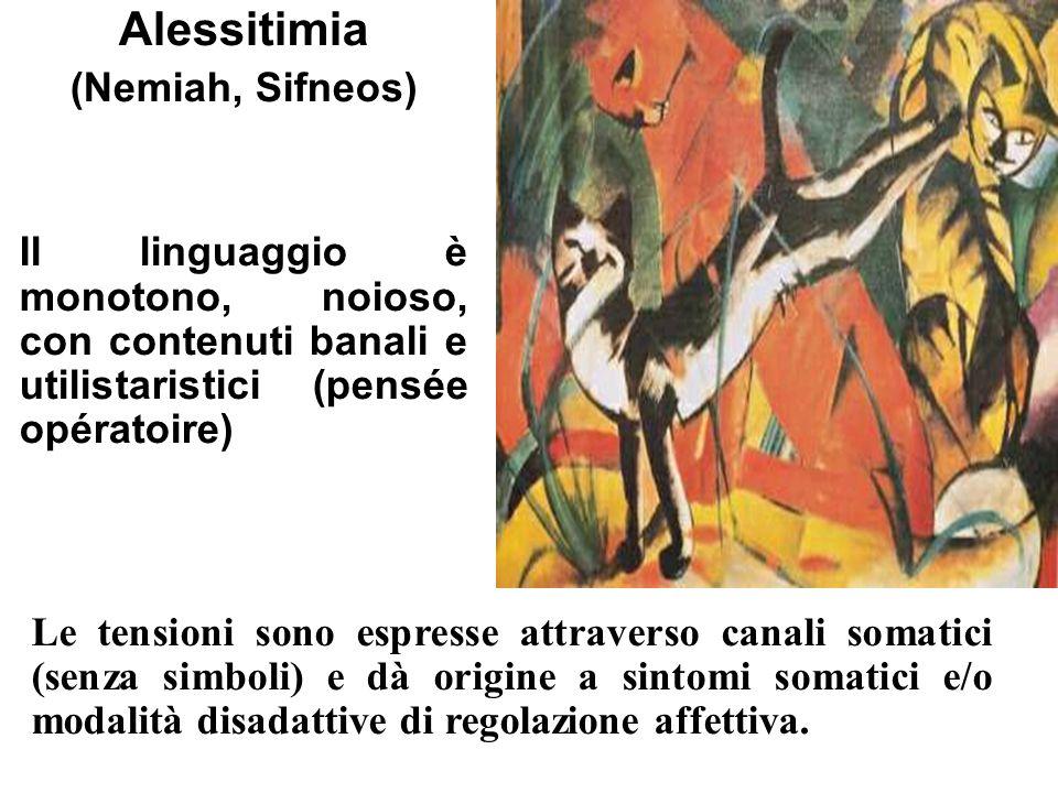 Alessitimia (Nemiah, Sifneos) Il linguaggio è monotono, noioso, con contenuti banali e utilistaristici (pensée opératoire) Le tensioni sono espresse a