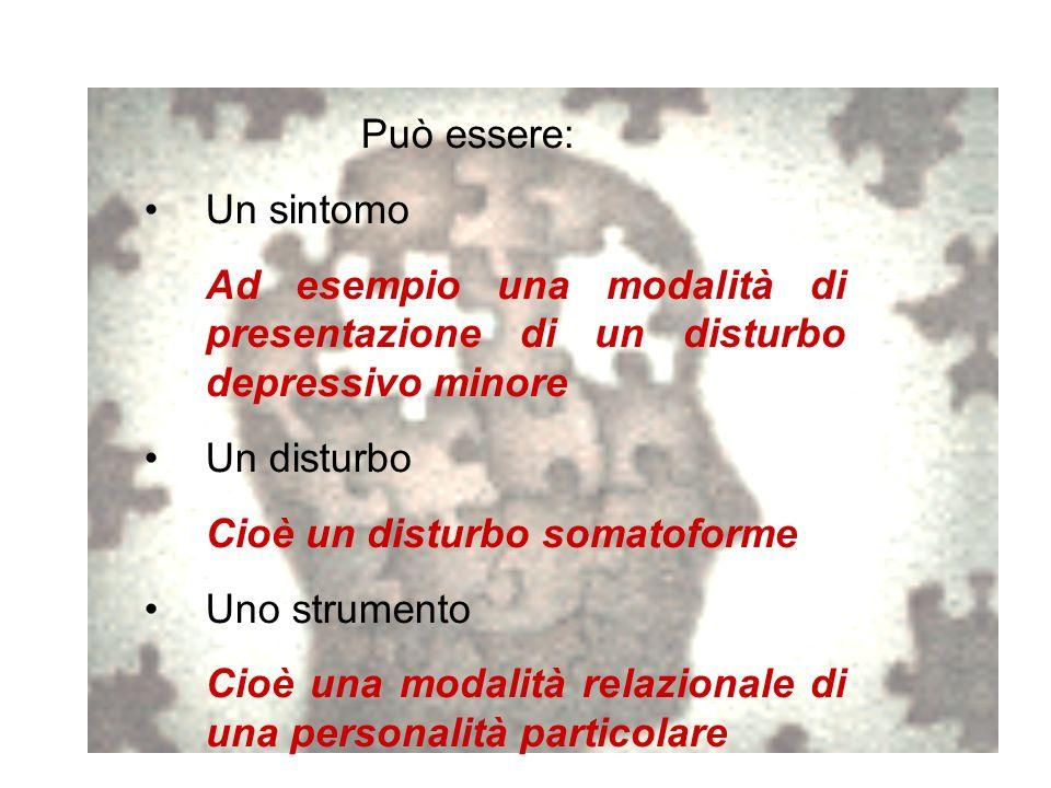 Può essere: Un sintomo Ad esempio una modalità di presentazione di un disturbo depressivo minore Un disturbo Cioè un disturbo somatoforme Uno strument