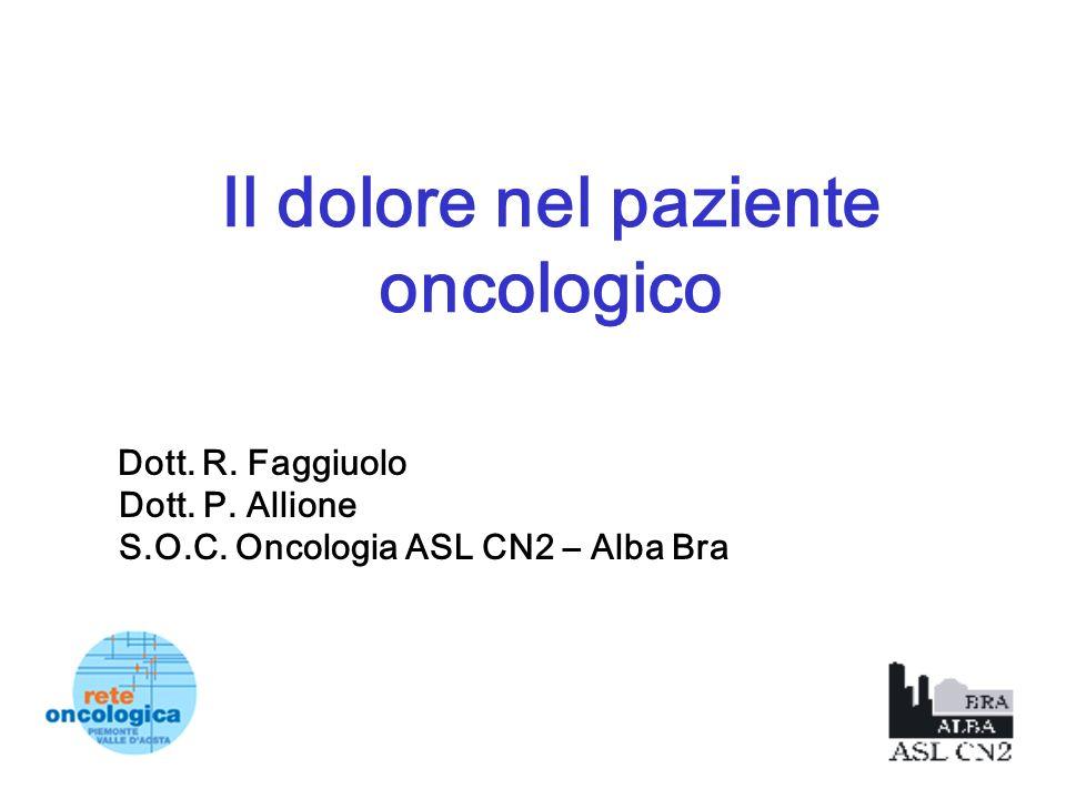 Il dolore nel paziente oncologico Dott. R. Faggiuolo Dott. P. Allione S.O.C. Oncologia ASL CN2 – Alba Bra