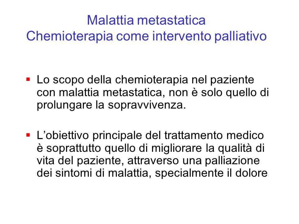 Lo scopo della chemioterapia nel paziente con malattia metastatica, non è solo quello di prolungare la sopravvivenza. Lobiettivo principale del tratta